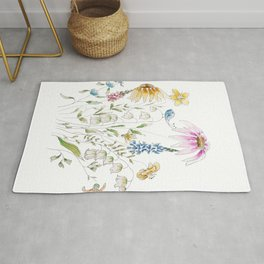 wild flowers and blue bird _ink and watercolor 1 Rug