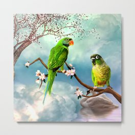 Wonderful, cute parrots Metal Print