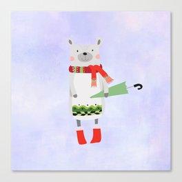Cute Bear in Winter Wear Holding Umbrella Canvas Print