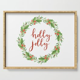 Christmas wreath-holly jolly Serving Tray