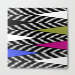 Abstract black and white Zigzag pattern of Multicolored triangles . 1 . Metal Print