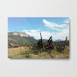 Time Weary Corral at the Haviland Lake Turnoff Metal Print