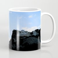 rushmore Mugs featuring Mt. Rushmore At Sunset by Jennifer L. Craft