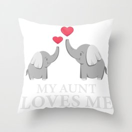 My Best Aunt Loves Me Good Nephew And Elephant Fan Gift Throw Pillow