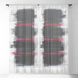 Red Stripes Black Stripes Thin Stripes Fat Stripes Sheer Curtain