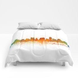 Austin Texas, City Skyline, watercolor  Cityscape Hq v3 Comforters