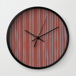 Grey and terracotta stripes Wall Clock