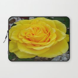 Head On View Of A Yellow Rose With Garden Background Laptop Sleeve