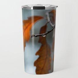 Rust Orange Oak Leaves in the Rain Travel Mug