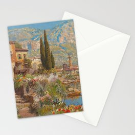 Lakeside View of Riva and Flower Gardens on Lake Garda, Italy landscape painting Stationery Cards