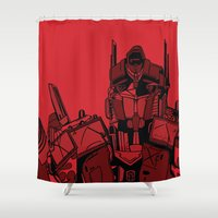 optimus prime Shower Curtains featuring Transformers: Optimus Prime by Skullmuffins