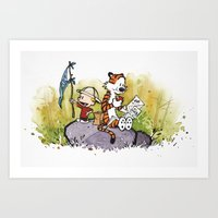 calvin and hobbes Art Prints featuring Calvin n hobbes by TEUFEL_STRITT666