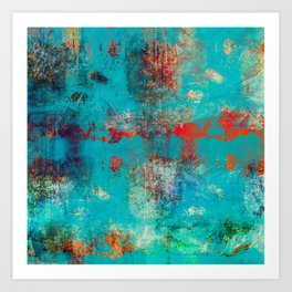 Aztec Turquoise Stone Abstract Texture Design Art Art Print