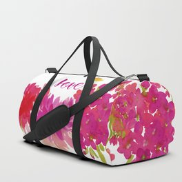 Hot Pink Floral with the word Love Duffle Bag