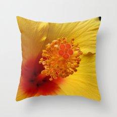 Hibiscus macro Throw Pillow