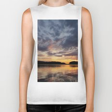 Spring Sunset - beautiful colors and reflections - cloudy sky Biker Tank
