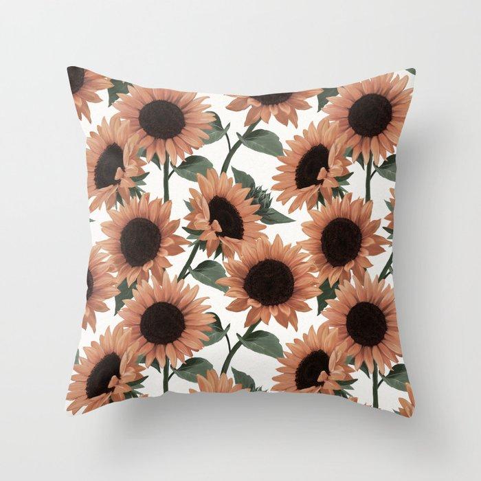terracotta sunflowers Throw Pillow