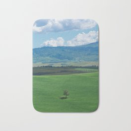 Lonely tree in the green hills of Chianti Bath Mat