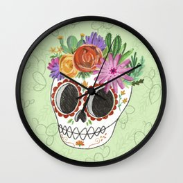 Fridita with flowers Wall Clock