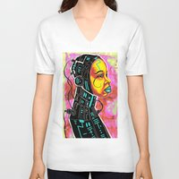 sci fi V-neck T-shirts featuring BLK SCI-FI 3 by BlackKirby1