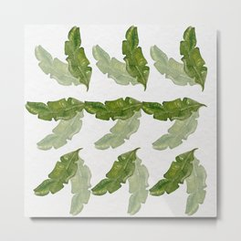 Banana leaf watercolor pattern Metal Print