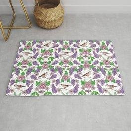 Lilacs, Peonies, Hellebore, & Sparrows - Pink & Purple Flowers w/ Birds & Moths Rug