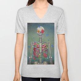 Blooming skeleton on the grunge background  Unisex V-Neck