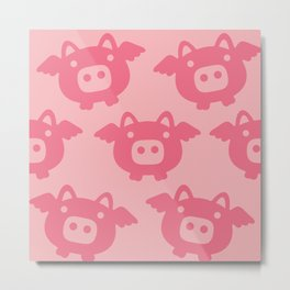 Pink Flying Pig Metal Print