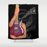 guitar Shower Curtains featuring Guitar by Estrella Nicolas