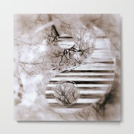 Yin Yang softness and vintage Metal Print