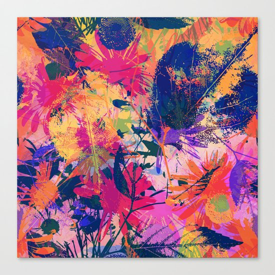 Colorful abstract leaves 2 Canvas Print