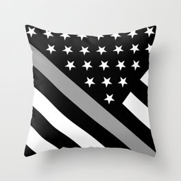 U.S. Flag: Black Flag & The Thin Grey Line Throw Pillow