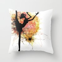 dancer Throw Pillows featuring dancer by liva cabule