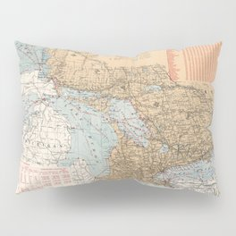 Vintage Great Lakes Lighthouses and Sailing Routes Map (1915) Pillow Sham