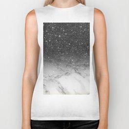 Stylish faux black glitter ombre white marble pattern Biker Tank