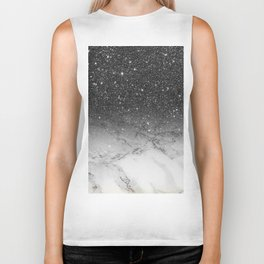 Stylish faux black glitter ombre white marble pattern Biker Tank