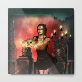 Awesome dark fairy with skull Metal Print