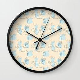 Outline botanical doodles pattern Wall Clock