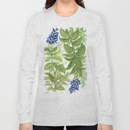 Blue Wildflower Watercolor Long Sleeve T-shirt