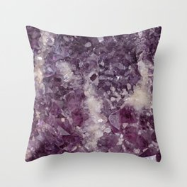 Deep Purple Quartz Crystal Throw Pillow