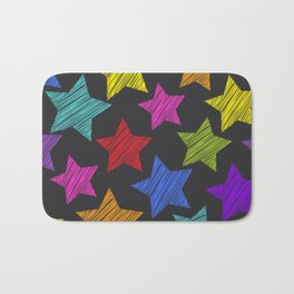 Sketch pattern with stars. Red green orange pink lilac blue stars on black background Bath Mat