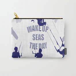 Wake Up Seas The Day Kiteboarder In Blue Shades Carry-All Pouch