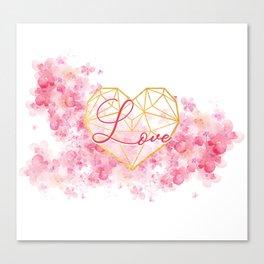 love watercolor flowers Canvas Print