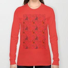 Funny cute teal pink romantic lama black polka dots Long Sleeve T-shirt