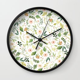 Botanical Spring Flowers Wall Clock