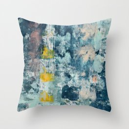 017: a bright contemporary abstract design in blues pinks and yellow by Alyssa Hamilton Art  Throw Pillow