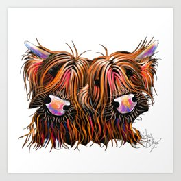 SCoTTiSH HiGHLaND CoWS ' THe LoVeLieS ' By SHiRLeY MacRTHuR Art Print