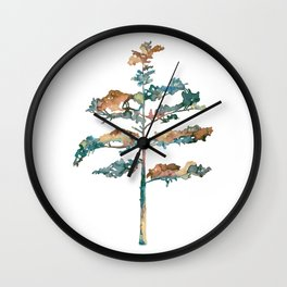 Pine Tree #2 in pink and blue - Ink painting Wall Clock
