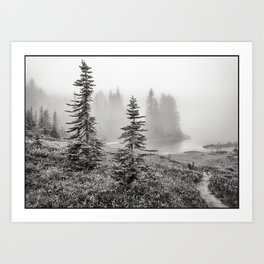 Scenic Landscape Art, Lakeside Wilderness, Fog Art Print