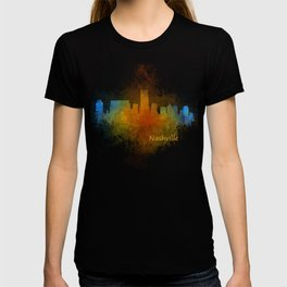 Nashville city skyline Tennessee watercolor v4 Dak T-shirt